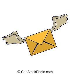 blu, simbolo, volare, linee, email, ali