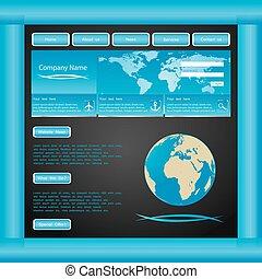 blu, sito web, vettore, sagoma
