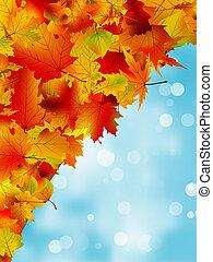 blu, sky., foglie, eps, autunno, 8
