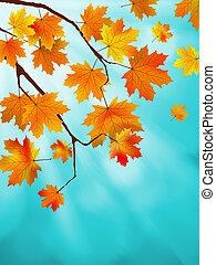 blu, sky., foglie, eps, giallo, contro, 8, rosso