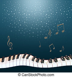 a musical winter night: snow from the dark blue sky, a warped piano and notes soaring.