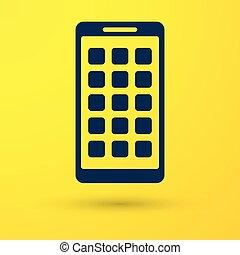 blu, smartphone, fondo., mobile, apps, schermo, icone, isolato, giallo, screen., telefono, vettore, applications., illustrazione, esposizione, icona