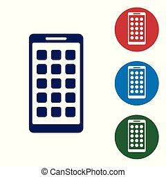 blu, smartphone, fondo., mobile, apps, schermo, icone, isolato, illustrazione, screen., telefono, vettore, applications., bianco, esposizione, icona