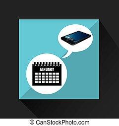 blu, smartphone, schermo, aprire, data, calendario