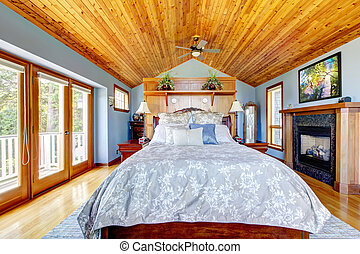 blu, soffitto, interior., legno, camera letto, caminetto