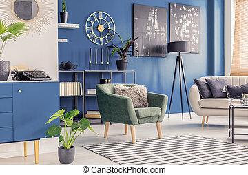 blu, soggiorno, dipinti