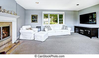 blu, soggiorno, divano, luce, bianco, caminetto