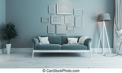 blu, soggiorno, fotografie a colori, cornice, idea, disegno, interno