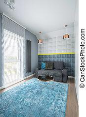 blu, soggiorno, grigio