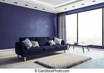 blu, soggiorno, interno, con, copyspace