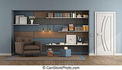 blu, soggiorno, marrone