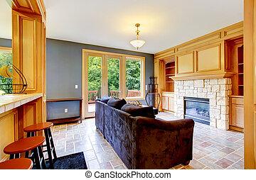 blu, soggiorno, marrone, sofa., pareti, caminetto