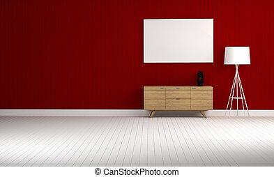 blu, soggiorno, parete, gabinetto, interpretazione, legno, 3d
