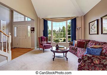 blu, soggiorno, pavimento, divano, piano, interno, bello, aperto, tenda