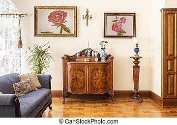 blu, soggiorno, rose, legno, foto, sofa., gabinetto, elegante, interno, sopra, reale, manifesti