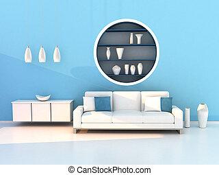 blu, soggiorno, stanza moderna