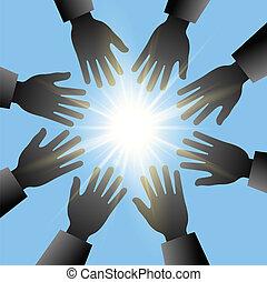 blu, sol, mãos alcançando