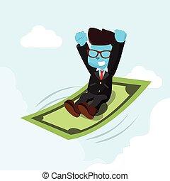 blu, soldi, cavalcata, uomo affari volante