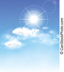 blu, sole, luminoso, sky.