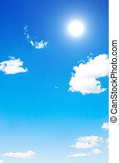 blu, sole, nubi, cielo
