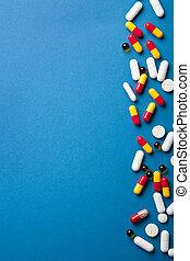 blu, sopra, bordo, pillole