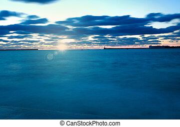 blu, sopra, sole, cielo, salita, fondo, crepuscolo, mare