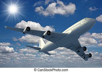 blu, sopra, volare, cielo, aeroplano