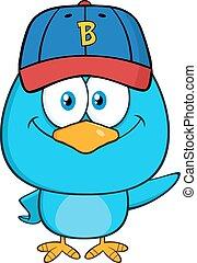 blu, sorridente, carattere, uccello