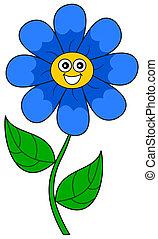blu, sorridente, fiore