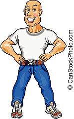 blu, sorridente, jeans, camicia, uomo