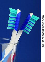 blu, spazzola, due, fondo, dente