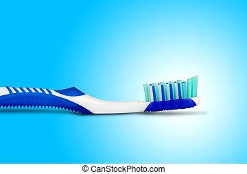 blu, spazzola, fondo, dente