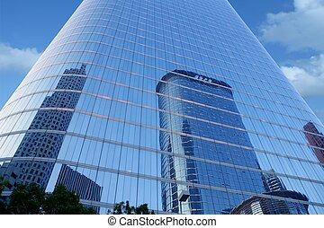 blu, specchio, vetro, facciata, grattacielo, costruzioni