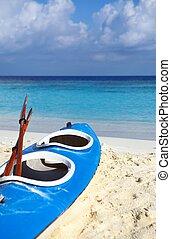 blu, spiaggia, barca