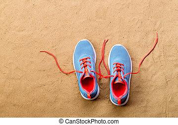 blu, spiaggia, colpo, scarpe, xx, sport, sabbia, studio