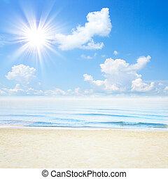 blu, spiaggia., nubi, cielo, tropicale, mare