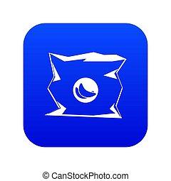 blu, spiegazzato, borsa, digitale, patatine fritte, icona