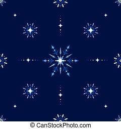 blu, splendere, fiocchi neve, banner., gelo, ghiaccio, vacanze