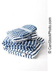 blu, spogliato, bianco, asciugamani