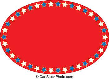 blu, sta, vettore, eps8, ovale, bianco rosso