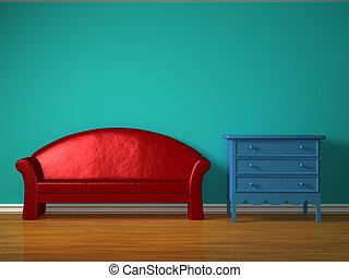 blu, stanza capretti, divano, comodino, rosso