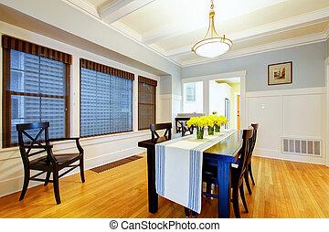 blu, stanza, casa, grigio, cenando, interior., bello