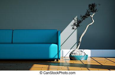 blu, stanza, divano, luminoso, finestra, fronte