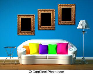blu, stanza, minimalista, vivente