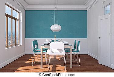 blu, stanza, parete, cenando, disegno, interno