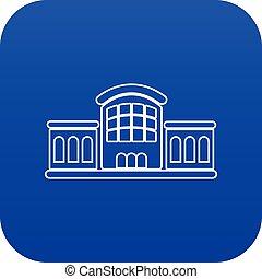blu, stazione ferroviaria, vettore, icona
