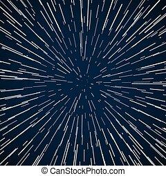 blu, stelle, astratto, zoom, deformazione, vettore, fondo,...