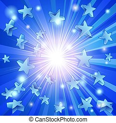 blu, stelle, fondo