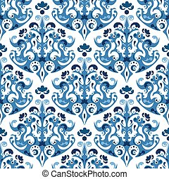 blu, stile, etnico, pattern., seamless, vettore, fondo, gzhel, ornaments., design.