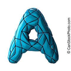 blu, stile, latino, colorare, isolato, poly, fondo., basso, lettera, capitale, bianco, 3d